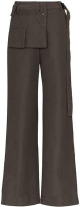 Low Classic snap pocket wide leg trousers