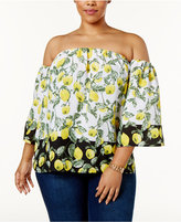 INC International Concepts Plus Size Printed Off-The-Shoulder Blouse, Only at Macy's