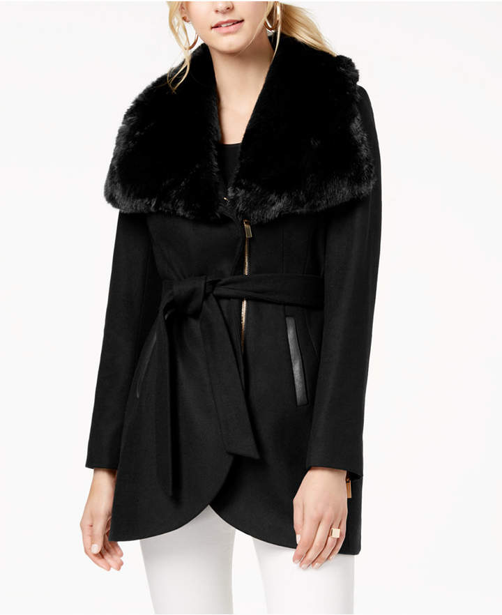 French Connection Faux-Fur-Collar Belted Coat