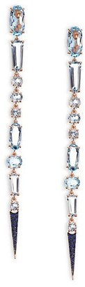 Etho Maria Sharp 18K Gold Blue Sapphires and Blue Topaz Drop Earrings