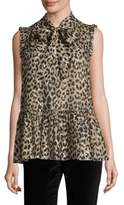 Kate Spade Leopard Clipped Dot Blouse