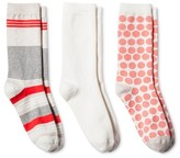 Merona Women's 3-pk Crew Socks Oatmeal Variegated Stripe One Size