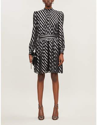 MICHAEL Michael Kors High-neck metallic striped silk-blend mini dress
