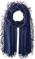 La Fiorentina Women's Wool-Silk Blend Scarf with Lace Pom Fringe