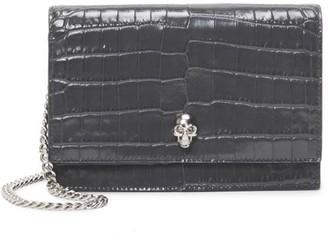 Alexander McQueen Small Skull Croc-Embossed Leather Crossbody Bag