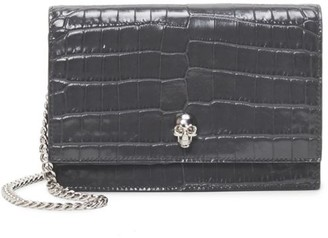 Alexander McQueen Small Skull Croc-Embossed Leather Crossbody Bag