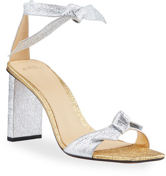 Alexandre Birman Clarita Bicolor Metallic Ankle-Tie Sandals