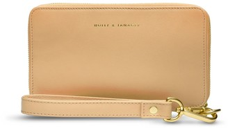 Holly & Tanager Champion Zip Around Leather Wallet In Buttercream