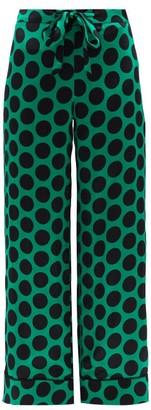 Halpern Polka-dot Satin Trousers - Green Print