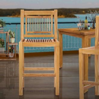 Chic Teak Maldives Teak Wood Indoor/ Outdoor Bar Stool Chair