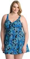 Croft & Barrow Plus Size Thigh Minimizer Bow-Front Swimdress