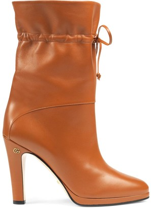 Gucci Leather High Heel Ankle Boots
