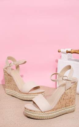 PrettyLittleThing Nude Studded Cork Wedge Sandal