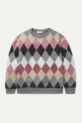 Brunello Cucinelli Kids - Ages 8 - 10 Sequin-embellished Argyle Wool-blend Sweater