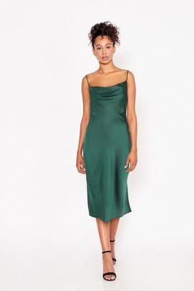 Little Mistress Indie Emerald Green Satin Cowl-Neck Midi Slip Dress