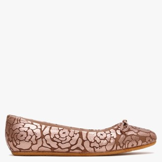 Yin Graceful Gazara Bronze Metallic Leather Floral Ballet Pumps