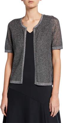 Joan Vass Petite Metallic Mesh Short-Sleeve Open-Front Cardigan