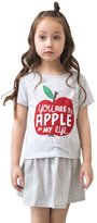 Malltop Kids Baby Girls Summer Princess Apple Dot Printing Shirt+Stripe Dress (5-6T, )
