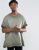 Asos Extreme Oversized T-Shirt With Roll Sleeve And Pigment Dye In Khaki