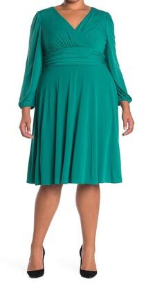 Eliza J V-Neck Long Sleeve Fit & Flare Dress