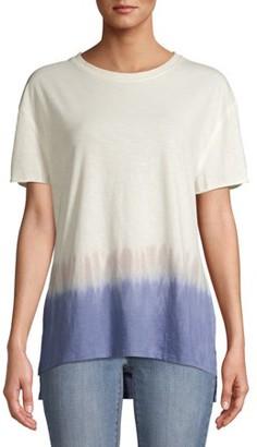 Time and Tru Women's Crewneck Vintage Dip Dye T-Shirt