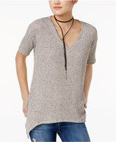 Bar III Short-Sleeve Handkerchief-Hem Sweater, Created for Macy's