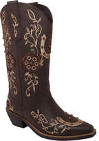 """AdTec Women's 8613 13"""" Western Pull On - Brown Faux Leather Boots"""