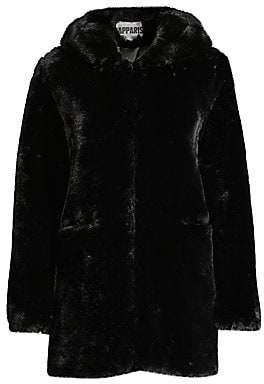 Apparis Women's Marie Hooded Faux Fur Coat