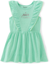 Juicy Couture Turquoise 'Juicy Couture' Ruffle Dress - Infant Toddler & Girls