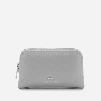 Ted Baker Women's Panse Leather Bow Stud Mini Make Up Bag - Light Grey