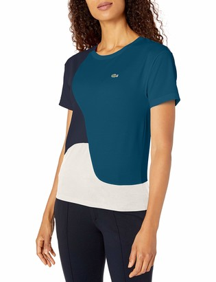 Lacoste Womens Short Sleeve Loose Fit Technical Pique Color Block Tee Shirt T-Shirt