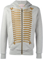 Palm Angels chest embroidery zipped hoody - men - Cotton/Polyester/Metal (Other) - M
