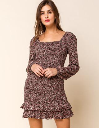 West Of Melrose Garden Party Smocked Ruffle Hem Mini Dress