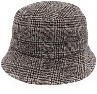 YMC Check Patterned Knitted Bucket Hat