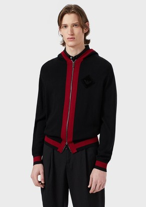 Emporio Armani Pure Virgin Wool Cardigan With Logo Patch