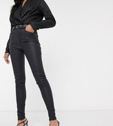 New Look Tall faux leather coated shaper skinny jean in black
