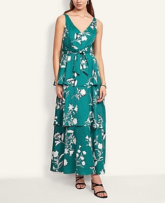 Ann Taylor Floral Tiered Maxi Dress