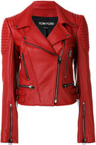 Tom Ford ribbed detail biker jacket