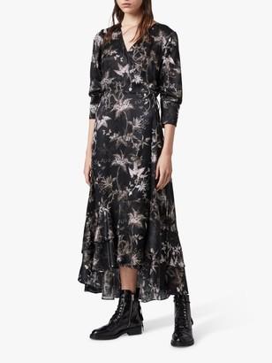 AllSaints Tage Evolution Silk Blend Dress, Black