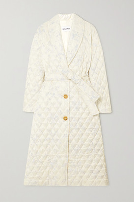 MINJUKIM Belted Quilted Printed Satin Coat - Ivory