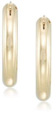 Signature Gold Diamond Accent Polished Oval Hoop Earrings in 14k Gold over Resin