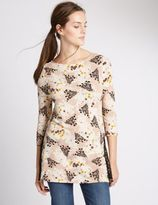 Marks and Spencer Floral Print Side Split 3/4 Sleeve Tunic