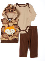 Buster Brown Brown Camo Fox Hooded Vest Set - Infant
