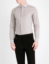 Richard James Cross-hatch-patterned contemporary-fit cotton shirt