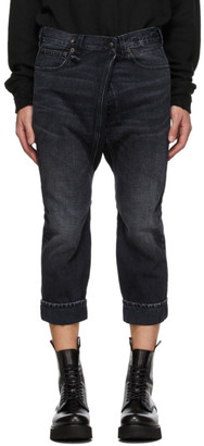 R 13 Black Staley Cross Over Jeans