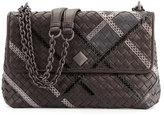Bottega Veneta Olimpia Intrecciato Snakeskin & Leather Shoulder Bag, Black
