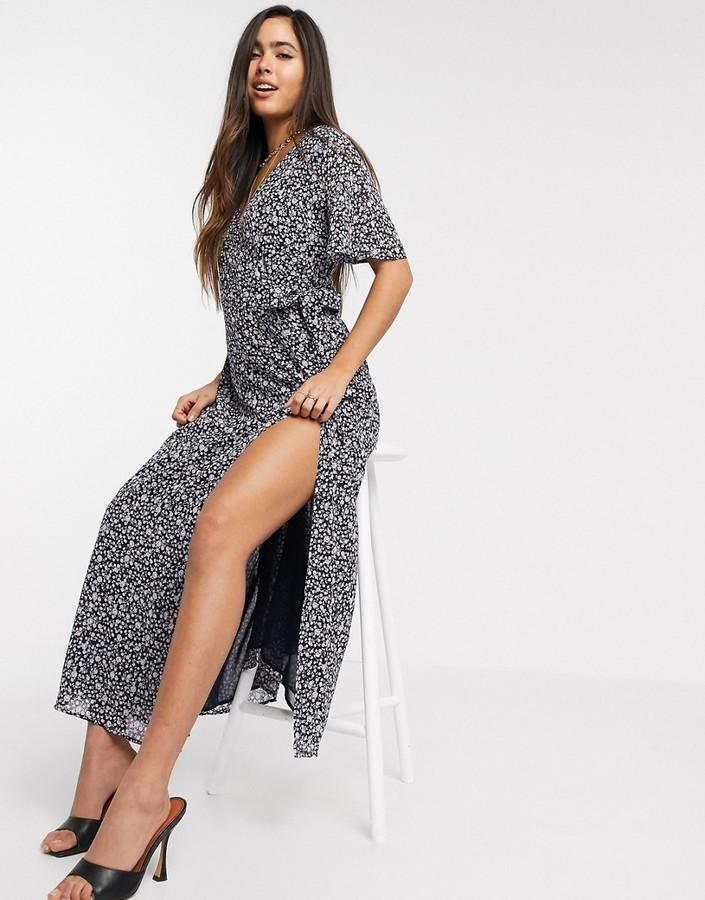 Vila wrap midaxi dress with side split in navy floral