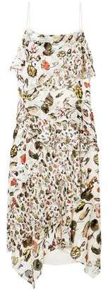 Jason Wu Grey Ruffled Floral-print Devore Silk-blend Midi Dress