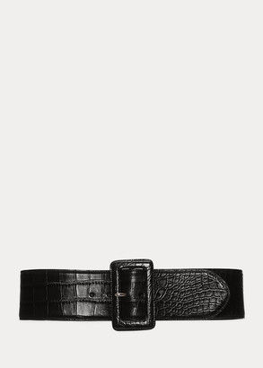 Ralph Lauren Trench-Buckle Alligator Belt