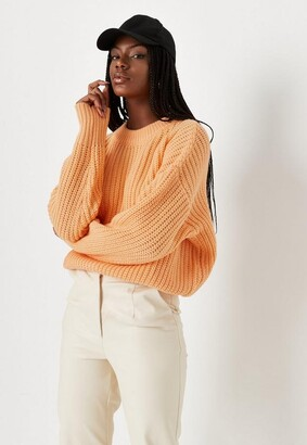 Missguided Orange Chunky Knit Crew Neck Sweater